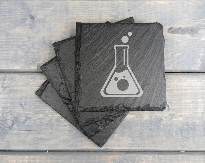 Chemistry Slate Coasters | Science | Laser Engraved | Slate Coasters | Chemical Glassware | Lab | Coasters | Set of 4 | FREE SHIPPING