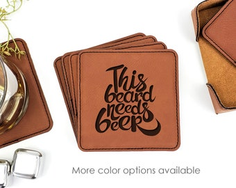 This Beard Needs Beer Fathers Day Leatherette Coasters Set Of 6 With Caddy
