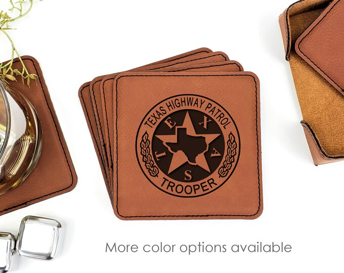 Texas Highway Patrol Trooper Leatherette Coasters Set Of 6 With Caddy