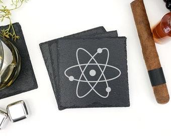 Atom Chemistry Molecule Laser Engraved Slate Drink Coasters