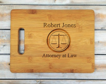Personalized Cutting Board | Cutting Board | Laser Engraved | Housewarming Gift | Attorney At Law | Justice | Lawyer | Mothers Day Gift