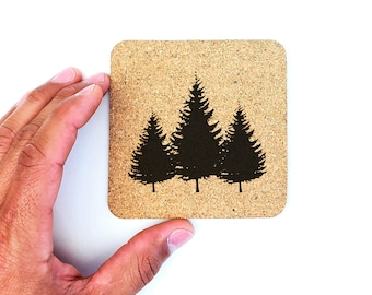 Pine Trees Forest Camping Cork Coasters
