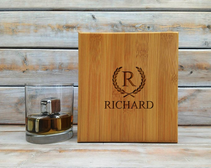Whiskey Stones | Personalized Bamboo Case | Gift Set | Metal Stones | Stainless Steel | Laser Engraved | Fathers Day Gift | Set of 9