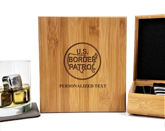 USBP Border Patrol Personalized Bamboo Case Stainless Steel Whiskey Stones Gift Set