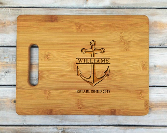 Personalized Cutting Board | Cutting Board | Laser Engraved | Housewarming Gift | Nautical | Anchor | Est | Mr and Mrs | Mothers Day Gift