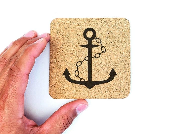 Nautical Sea Ship Boat Anchor Cork Coasters