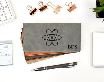 Personalized Checkbook Cover | Atom | Science Cover | Chemistry | Monogrammed | Laser Engraved | Personalized Gift