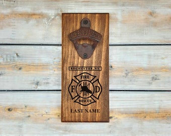 Personalized Wall Bottle Opener | Rochester Fire Department | Firefighter | Fireman | New York | Man Cave | Groomsmen | Father's day Gift
