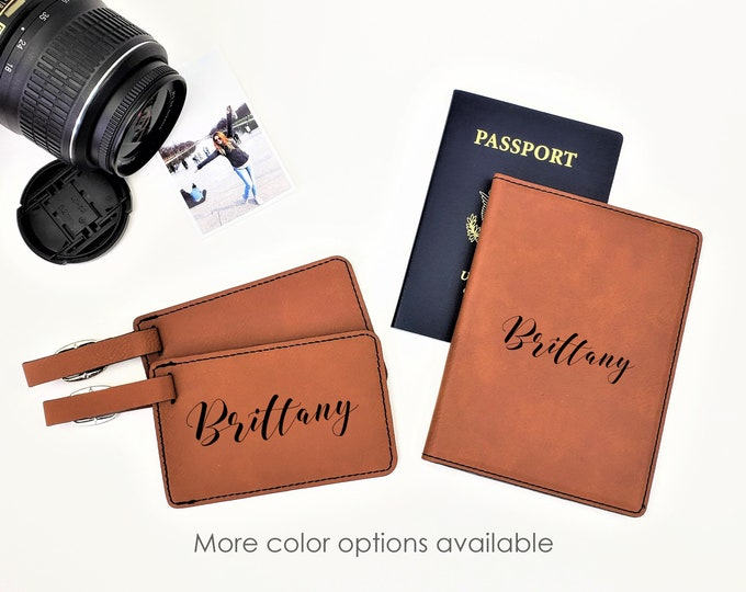 Personalized Monogrammed Passpost Holder Cover Luggage Tag Travel Gift Set