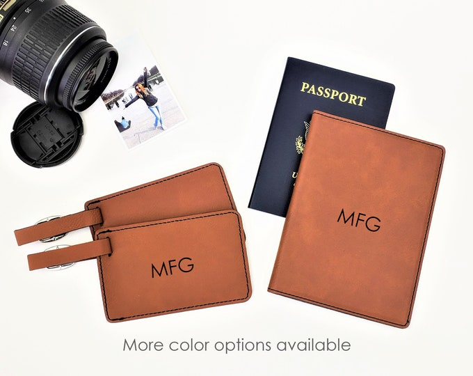Personalized Monogrammed Initials Passpost Holder Cover Luggage Tag Travel Gift Set