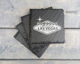 Las Vegas Slate Coasters | Las Vegas | Laser Engraved | Slate Coasters | Drink Local | State | Nevada | Coasters | Set of 4 | FREE SHIPPING