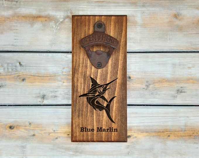 Fishing Bottle Opener | Personalized Bottle Opener | Blue Marlin | Fish | Fishing | Man Cave | Dad Gift | Father's day Gift