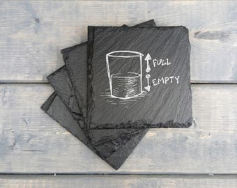 Half Full Half Empty Slate Coasters | Half Full | Half Empty | Laser Engraved | Slate Coasters | Coasters | Set of 4 | FREE SHIPPING