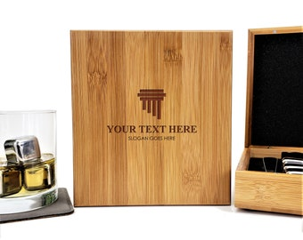 Personalized Whiskey Stones Bamboo Case | Gift Set | Attorney At Law | Stainless Steel | Laser Engraved | Fathers Day Gift | Set of 9