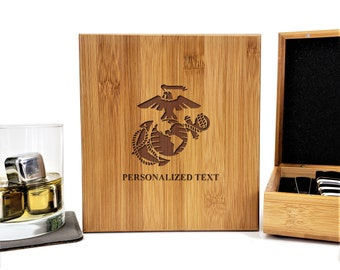 USMC Marine Corps Military Personalized Bamboo Case Stainless Steel Whiskey Stones Gift Set