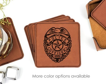 Personalized Police Officer Badge Number Leatherette Coasters Set Of 6 With Caddy