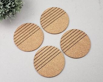 Round Geometric Coasters | Modern Coasters | Housewarming Gift | Newlywed | Simple Lined Coasters | Wine Drinking Coasters