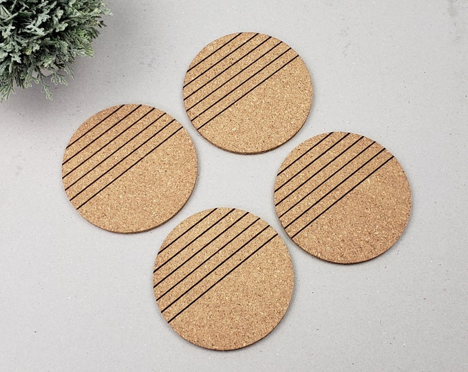 Round Geometric Coasters | Modern Coasters | Housewarming Gift | Newlywed | Simple Lined Coasters | Wine Drinking Coasters