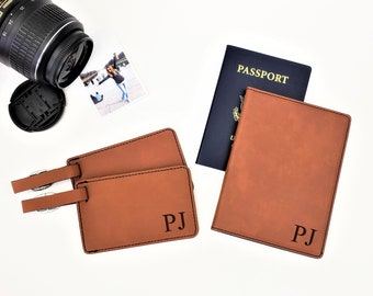 Personalized Passpost Holder Cover With Initials Luggage Tag Travel Gift Set