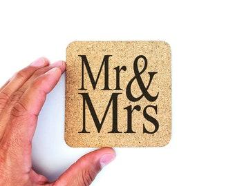 Mr and Mrs Cork Coasters | Wedding Coasters | Housewarming | Newlywed | Rustic Wedding | Drink Coasters