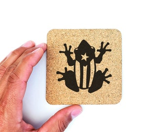 Puerto Rico Boricua Coqui Frog Flag Cork Coasters