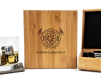 Fire Department Firefighter Personalized Bamboo Case Stainless Steel Whiskey Stones Gift Set