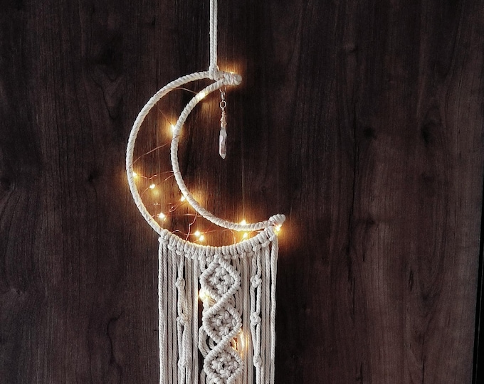 Macrame Moon and Hand-wrapped Crystal Charm Wall Hanging Boho Home Decor, With LED Lighting Included