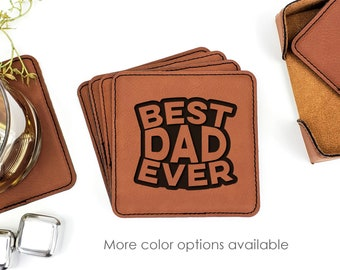 Best Dad Ever Fathers Day Leatherette Coasters Set Of 6 With Caddy