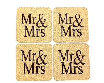 Mr and Mrs Cork Coasters | Wedding Coasters | Housewarming |Newlywed | Rustic Wedding | Drink | Set of 4 | FREE SHIPPING
