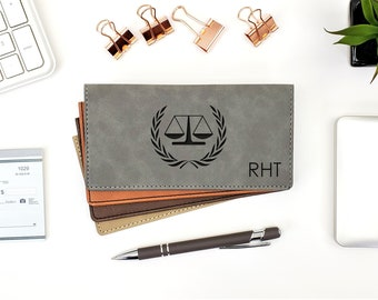 Personalized Checkbook Cover Scale Of Justice Law Lawyer Attorney Graduation Gift