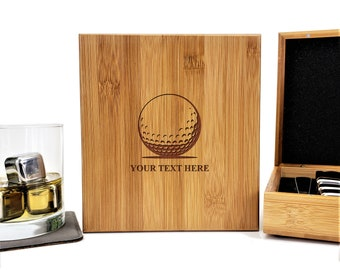 Personalized Whiskey Stones Bamboo Case | Gift Set | Golf Ball | Stainless Steel | Fathers Day Gift | Set of 9