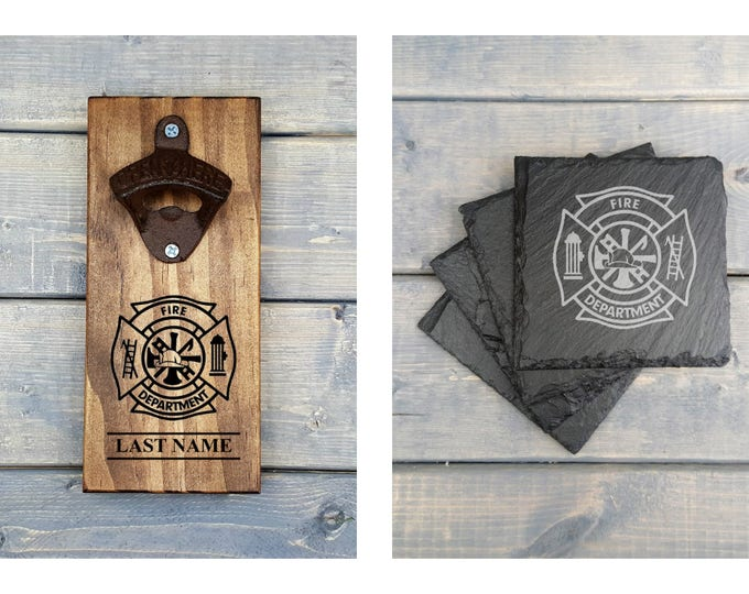 Wall Bottle Opener | Slate Coaster | Fire Department | Firefighter | Fireman | Laser Engraved | Bottle Opener | Coasters | Bundle Set