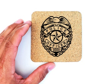 Personalized Police Officer Badge Military Cork Coasters