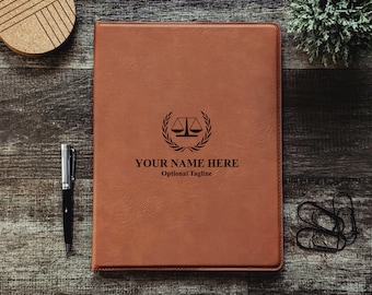 Personalized Attorney At Law Business Portfolio Notepad   Monogrammed   Personalized Gift   Scale of Justice   Lawyer Gift   Attorney Office