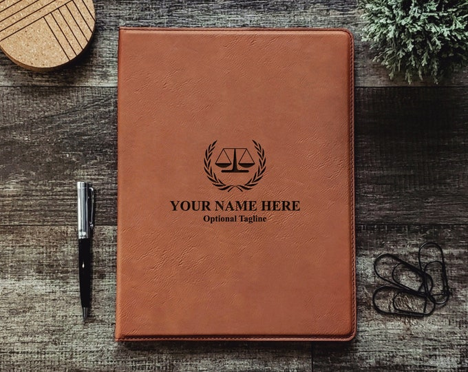 Personalized Attorney At Law Business Portfolio Notepad | Monogrammed | Personalized Gift | Scale of Justice | Lawyer Gift | Attorney Office