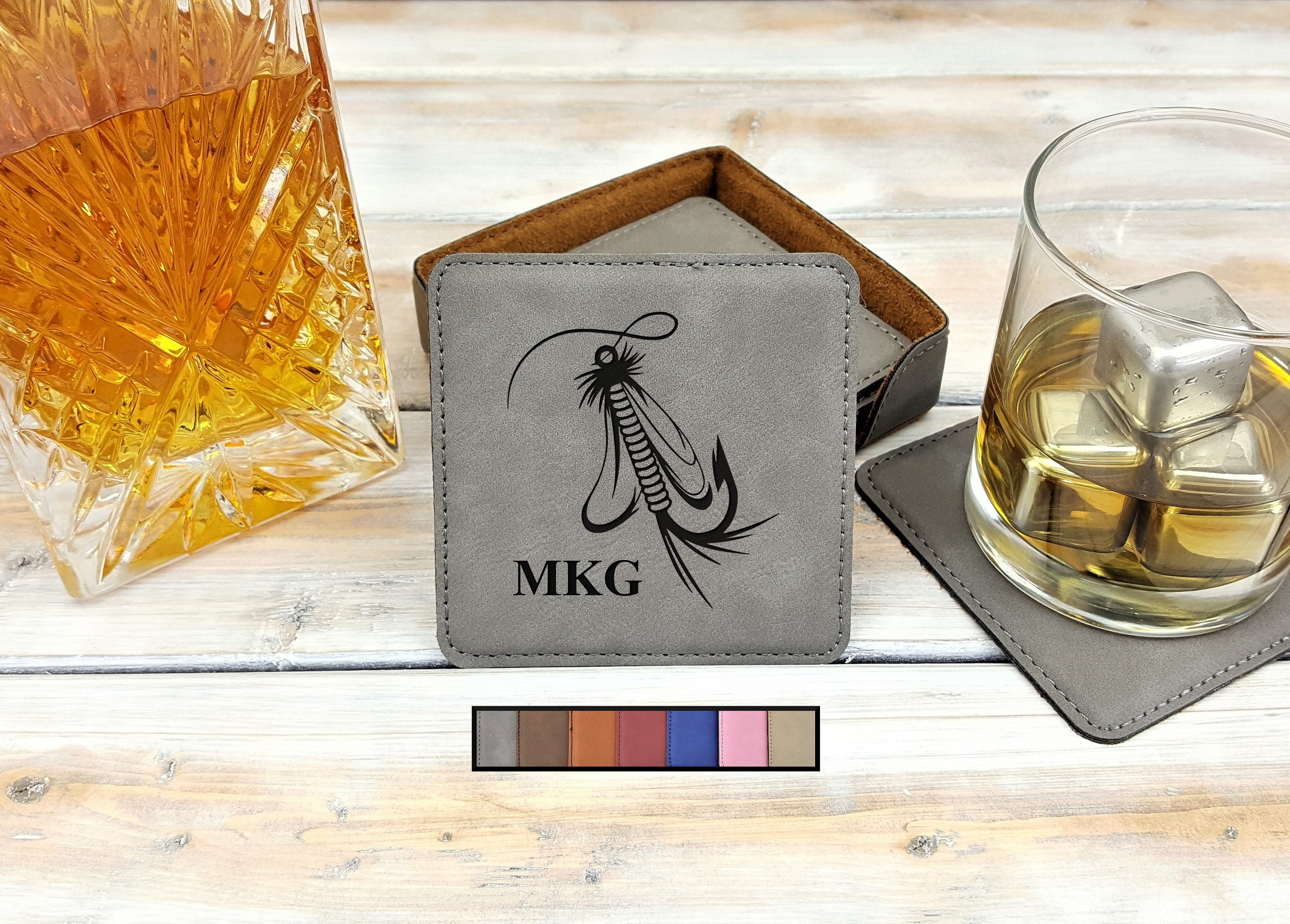 Leatherette Coasters Monogrammed Personalized Housewarming