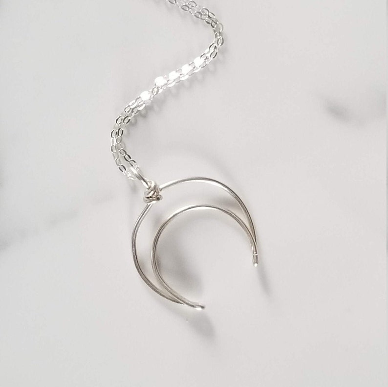 Moon Ring Holder Necklace Sterling Silver Engagement Ring image 0