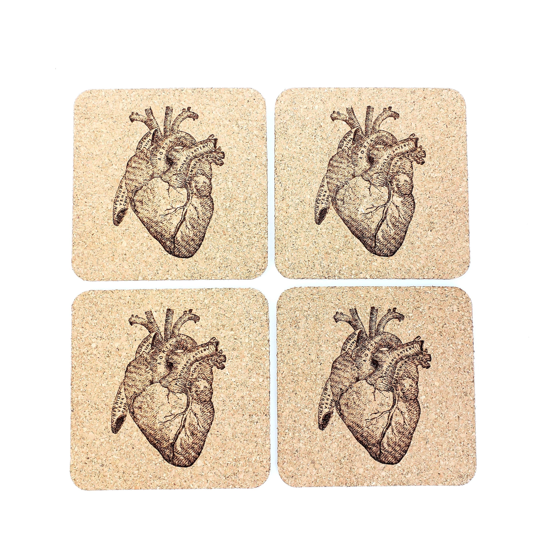 Human Anatomy Cork Coasters   Anatomical Heart   Medical Gift ...
