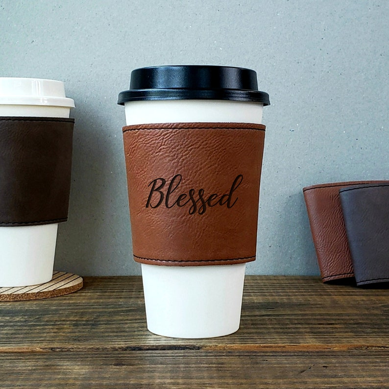 Personalized Cup Sleeve Blessed Personalized Coffee Cup image 0