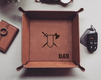 Personalized Tray, dungeons & dragons, Dice Tray, Vegan Leather Tray, Valet Tray For Men, EDC Dump Tray, Coin Storage Tray, Christmas Gift