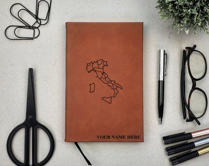 Personalized Journal | Notebook | Monogram | Gift | Travel Journal | Adventure | Italy Journal | Italy Map | Rome | Pisa | buongiorno