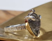 Statement ring silver with 14kt yellow gold - pear cut rutiel quartz in claw setting and 0.05ct VS diamond completely handmade.