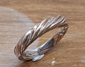 Tough, unique, Mokume-gane ring silver with copper with filed tordering wave at top size 59