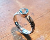 Silver tiger stripes ring with 7mm aquamarine