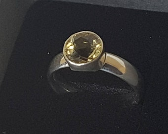 Handmade silver ring with star cut Citrine