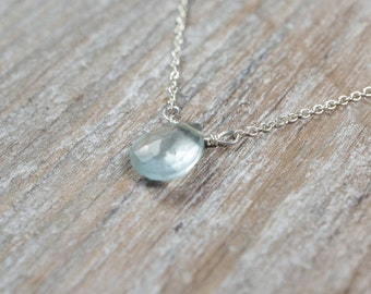 Aquamarine Pendant Dainty Necklace, March Birthstone