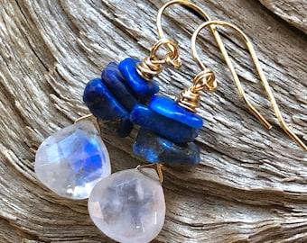 Moonstone, Lapis lazuli Earrings