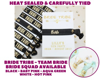 Personalised Bride Tribe Elastic Wrist Band - Hen Party Favours - Wristband - Bride Tribe Hair Ties - Perzonalised Favor - Party bag fillers
