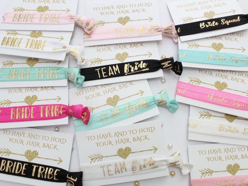 Gift Favour Bridal Shower Hairband Wristband Wedding BRIDE TRIBE free BRIDE Blush Pink /& Gold Bachelorette Hen party Favour