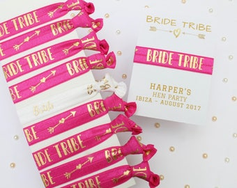 Personalized Card - Bachelorette Party Favor - Hen Party Favours - Bride Tribe Hair Ties - Personalised Keepsake - Gifts for Hen Party